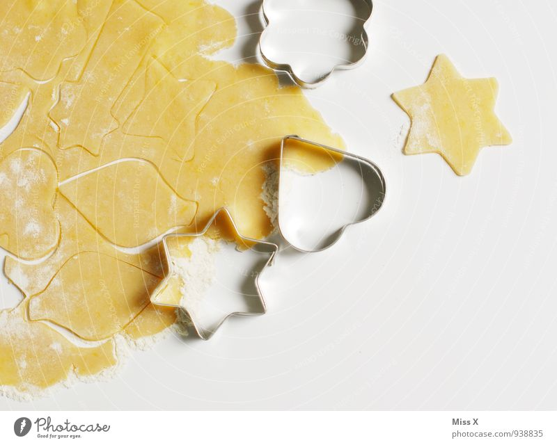 star Food Dough Baked goods Candy Nutrition Delicious Sweet Cookie Christmas biscuit Baking tin Star (Symbol) Colour photo Multicoloured Close-up Deserted