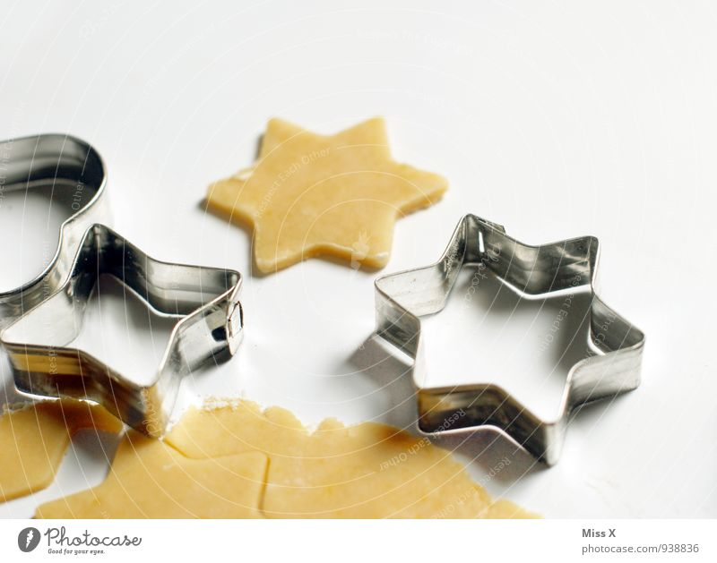 stars Food Dough Baked goods Nutrition Metal Delicious Sweet Cookie Star (Symbol) Pierce Colour photo Close-up Deserted Copy Space right Copy Space top