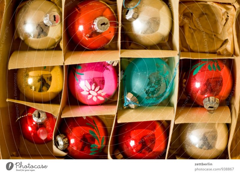 11 of 12 Christmas & Advent Decoration Anti-Christmas Christmas decoration Winter Sphere Glitter Ball Cardboard Packaging Glass blown Tradition Old Ancient