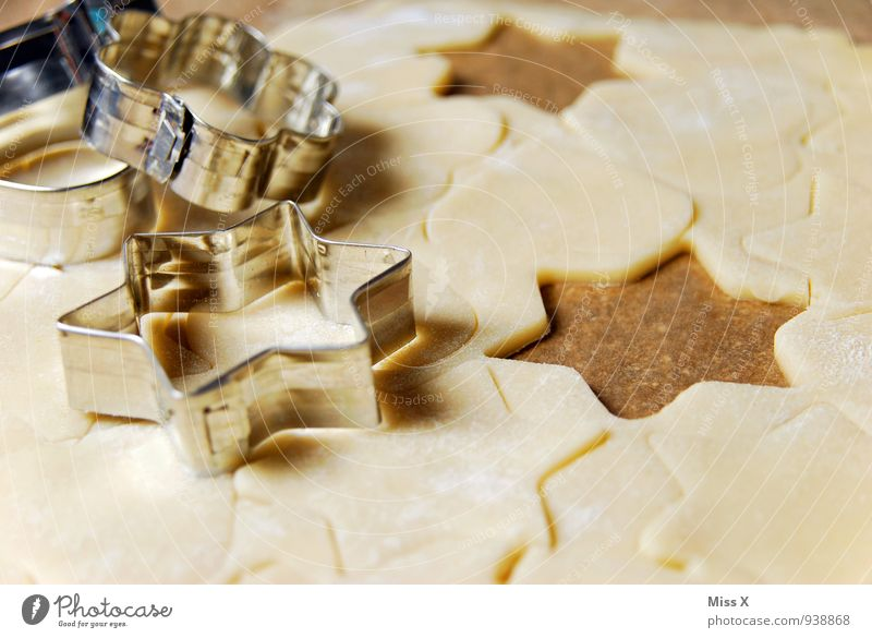 Food Glittering Nutrition Cooking & Baking Sweet Star (Symbol) Delicious Baked goods Dough Raw Cookie Christmas biscuit Baking tin Optimal cookie cutter
