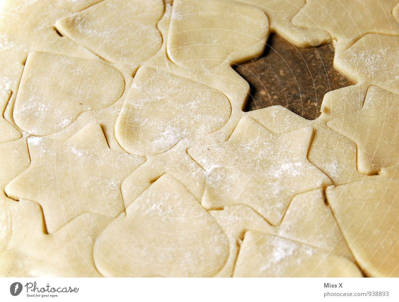 Christmas & Advent Food Nutrition Heart Cooking & Baking Sweet Star (Symbol) Delicious Baked goods Dough Cookie Flour Christmas biscuit