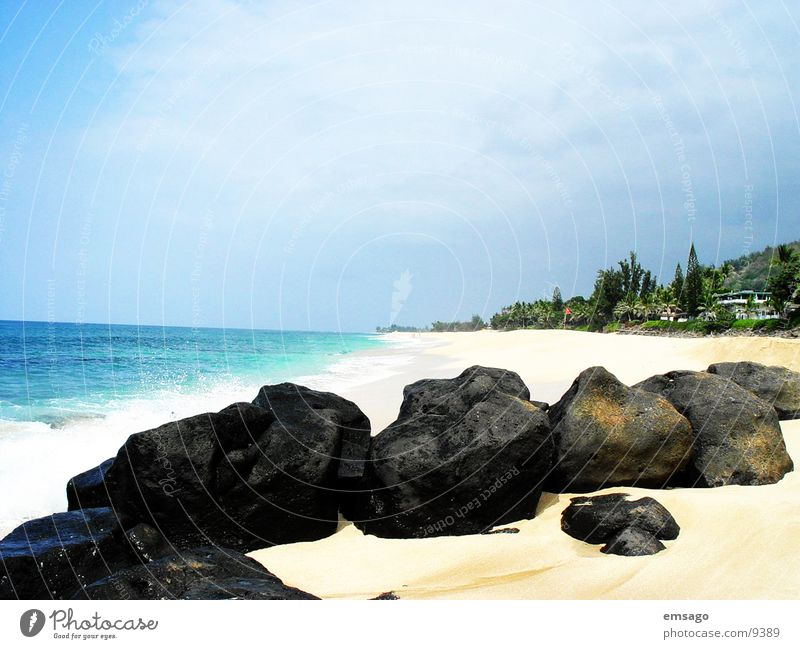 Sunset Beach Hawaii Ocean Vacation & Travel Island Blue Stone Sandy beach Deserted Copy Space top Coast Pacific Ocean Pacific beach Horizon