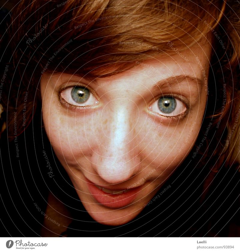 Really...?! Woman Happiness Joy Eyes Blue Mouth Nose Hair and hairstyles Happy