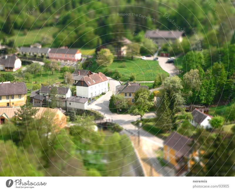 Green House (Residential Structure) Street Forest Bridge River Brook Austria Juicy Miniature Tilt-Shift Federal State of Lower Austria