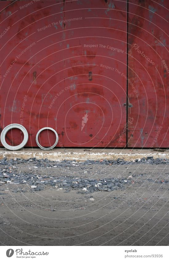 Old Red Loneliness Wall (building) Sand Stone Building Together Wait Concrete Dangerous Circle Threat Construction site Trash Rust