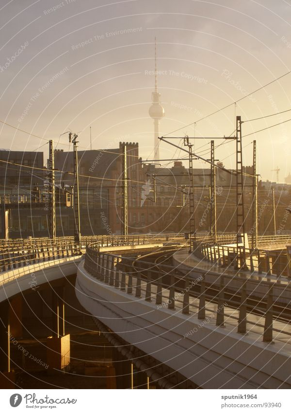 Sky Berlin Railroad Train station Transmission lines Berlin TV Tower Commuter trains Central station
