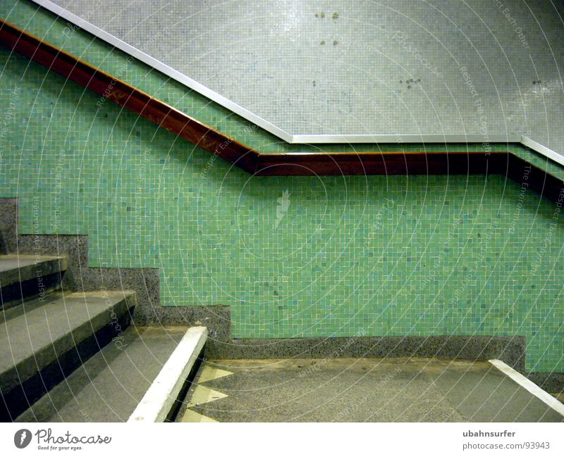 Green Colour Dark Wall (building) Architecture Stone Line Above Stairs Transport Driving Handrail To hold on Mask Turquoise Tile