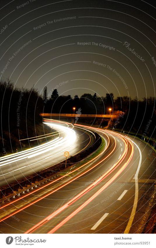 A73 Highway Rear light Horizon Night Long exposure Highway ramp (entrance) Dark Stripe Strip of light Resume Wanderlust Town Fast moving Speed Vacation & Travel