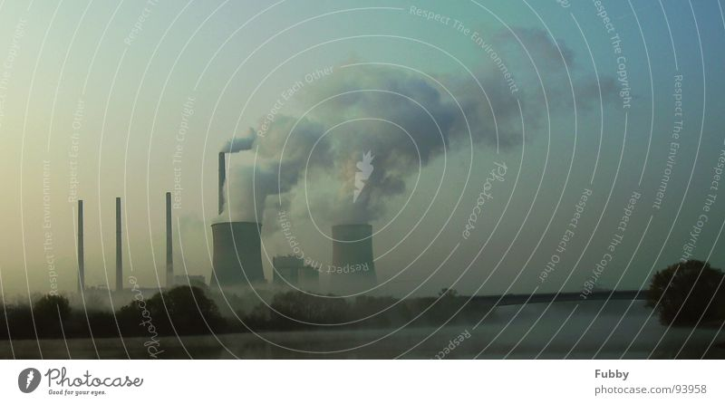 Global Warming 2 Climate change Nuclear Power Plant Coal power station Main Industry Electricity generating station River Bridge Smoke Chimney Sky 2. warming