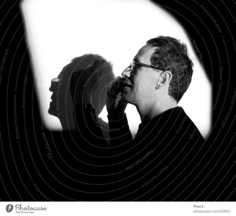 music Joie de vivre (Vitality) Man Jazz Silhouette Light Eyeglasses Wall (building) Sunlight 50 plus Trumpet Listening Seesaw Joy Human being no longer young