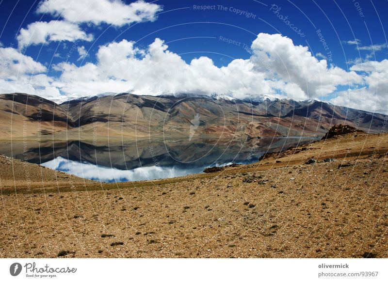 mirroring Lake Clouds Mirror image White Peak India Mountain Sky Blue