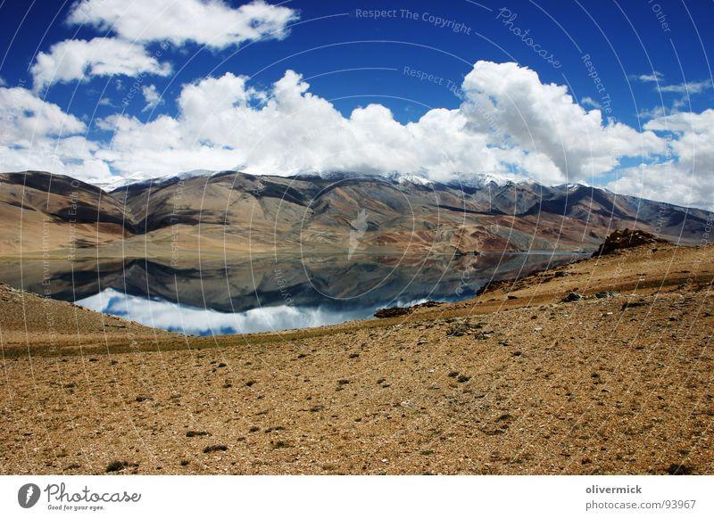 Sky White Blue Clouds Mountain Lake Peak India Mirror image