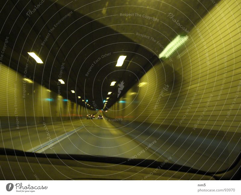 Tunnel vision in Hamburg Windscreen Dark Snapshot Speed Driving Car Light St Pauli-Elbtunnel