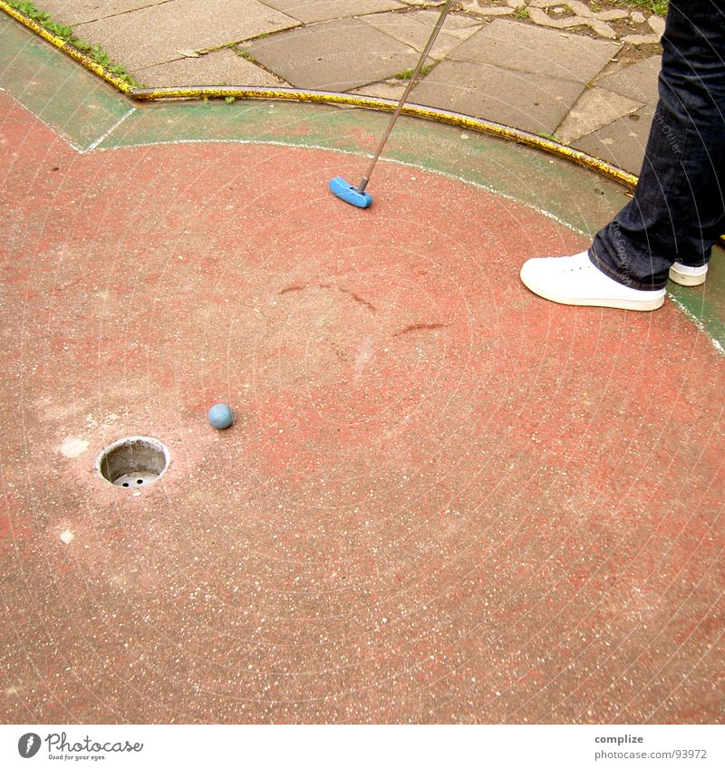 narrowly over.... Mini golf Golf ball Old Player Aim Leisure and hobbies Beat Movement Strike Sunday Concentrate Joy Accuracy Hollow Playing Sporting event