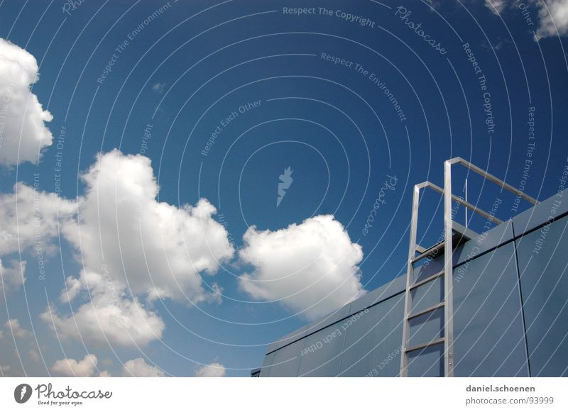 Sky White Blue Summer Clouds Metal Weather Stairs Roof Go up Cyan