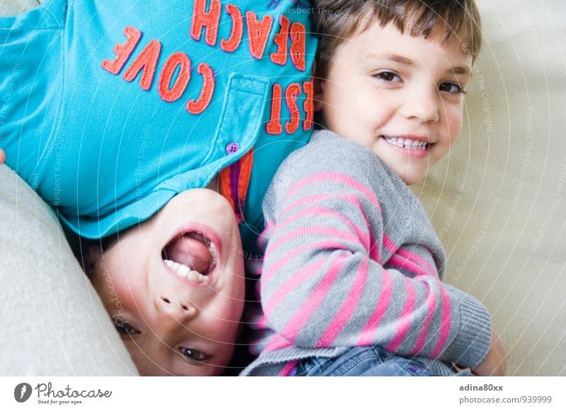 Even if the world is upside down II Parenting Education Brothers and sisters Friendship Playing Romp Together Emotions Joy Happy Happiness Contentment