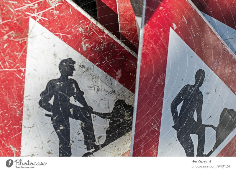 men at work Street Road sign Old Red Black White Work and employment Workplace Construction site Shovel Scratched Second-hand Sign forest Metal Colour photo