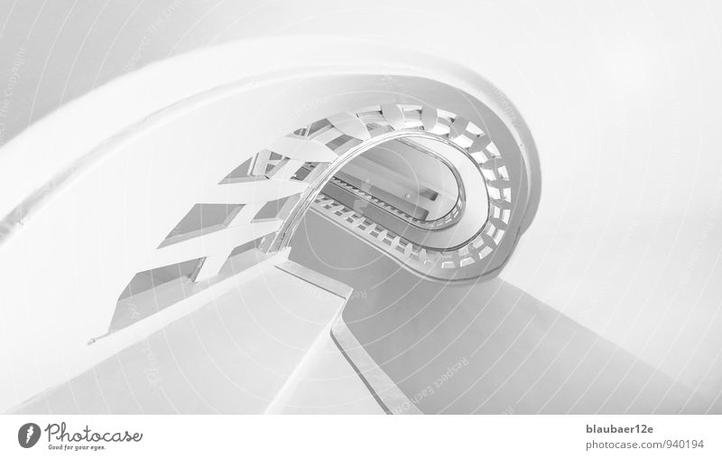 white staircase Deserted Building Architecture Stairs Esthetic Staircase (Hallway) Banister Black & white photo Interior shot High-key Deep depth of field