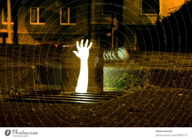 alive Arm Hand Fingers Town Downtown Deserted Street Illuminate Exceptional Threat Dark Infinity Creepy Rebellious Strong Yellow Orange Emotions Bravery Power