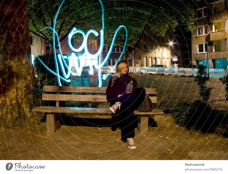 Hui Boo Night life Feminine Young woman Youth (Young adults) 1 Human being 18 - 30 years Adults Youth culture Aachen Town Downtown Deserted Places Observe