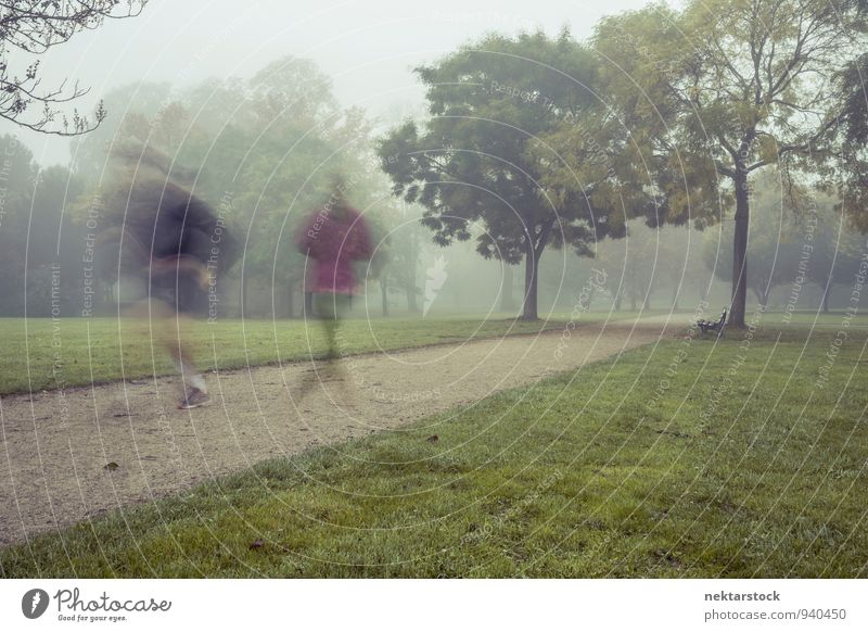 Jogging in morning fog Lifestyle Athletic Fitness Winter Sports Human being Park adult healthy exercise workout runner motion autumn grass activity active speed
