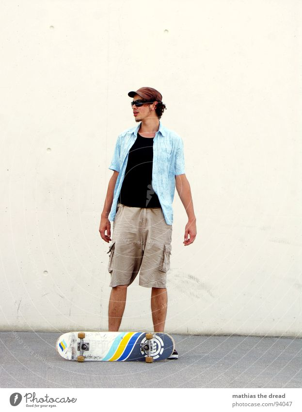 boards that mean the world II Skateboard Man Masculine Search Break Sunglasses Style Summer Sunlight Empty White Wall (building) Gray Lifestyle Easygoing Rest