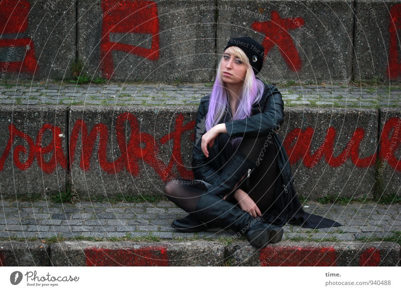 Human being Youth (Young adults) City Beautiful Young woman Relaxation Wall (building) Life Graffiti Feminine Lanes & trails Wall (barrier) Contentment Design