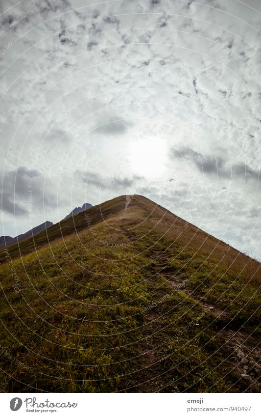 along the ridge Environment Nature Landscape Clouds Meadow Mountain Natural Green Mountain ridge Colour photo Exterior shot Deserted Day Wide angle