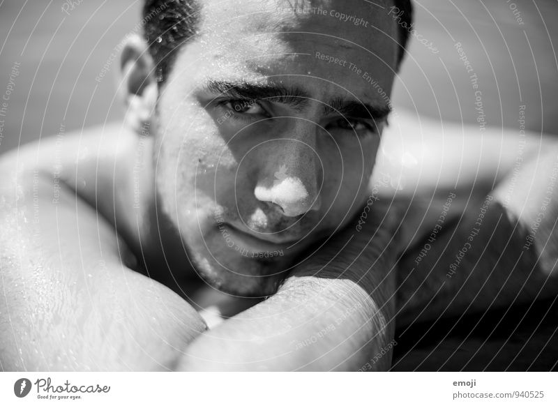 By the pool Masculine Young man Youth (Young adults) Face 1 Human being 18 - 30 years Adults Cool (slang) Naked Wet Black & white photo Exterior shot Close-up