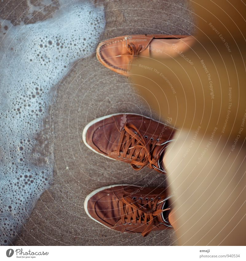1.5 People Feet 2 Human being Waves Beach Ocean Sand Water Footwear Vacation & Travel Vacation photo Colour photo Exterior shot Day Shallow depth of field