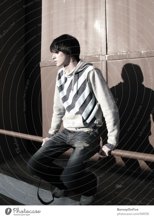 Staring at the Sun Man Rod Striped sweater Portrait photograph Red Loneliness Sunset Youth (Young adults) Industry Derelict VSCT Shadow Sit factory premises