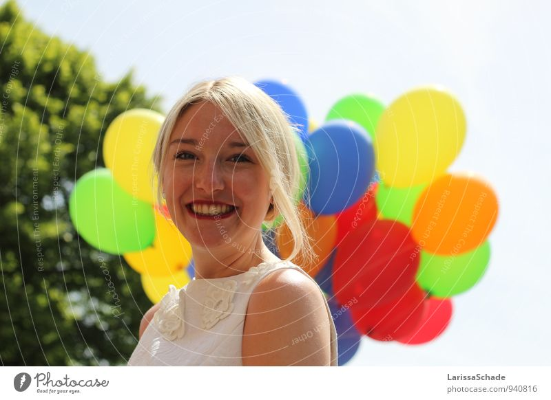 Colourful. Feminine Young woman Youth (Young adults) Face Teeth 1 Human being 18 - 30 years Adults Beautiful weather Tree Cloth Blonde Braids Balloon Breathe