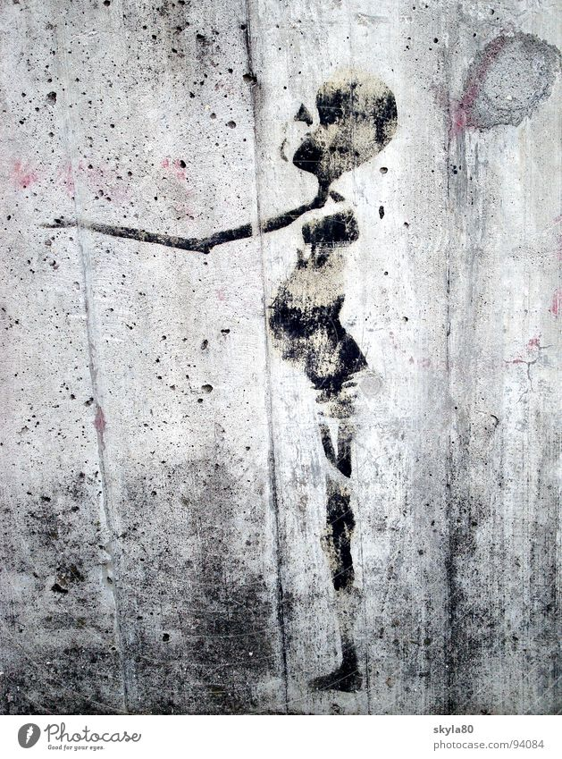 sign of life Wall (building) Wall (barrier) Thin Skeleton Concrete Facade Dirty Beg Africa Third World Tagger Stencil Street art Graffiti Mural painting