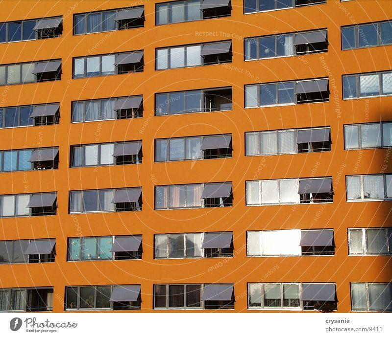 orange house House (Residential Structure) Balcony New building Glazed facade Window Architecture Orange Berlin Town