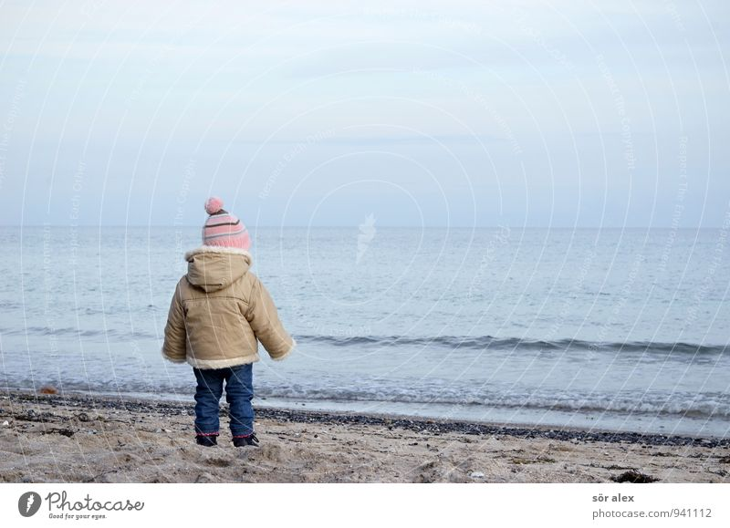 cold Baltic Sea Vacation & Travel Human being Feminine Child Toddler Girl Infancy Water Sky Autumn Weather Waves Beach Ocean Clothing Jeans Jacket Cap Cold
