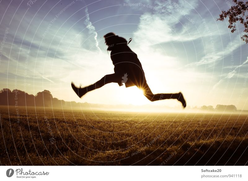 Jump over field Field Fog Sunrise Hop Human being Masculine Young man Youth (Young adults) 1 18 - 30 years Adults Blue Yellow Black Colour photo Exterior shot