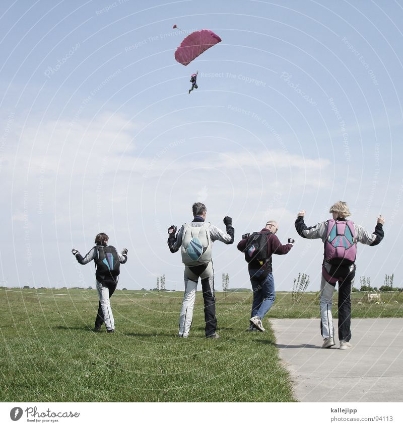 All my ducklings Skydiver Jump Paragliding Practice Airfield Runway Horizon Glide Formation Meadow Field Formation skydiving Backpack Parachute Hand Man Woman