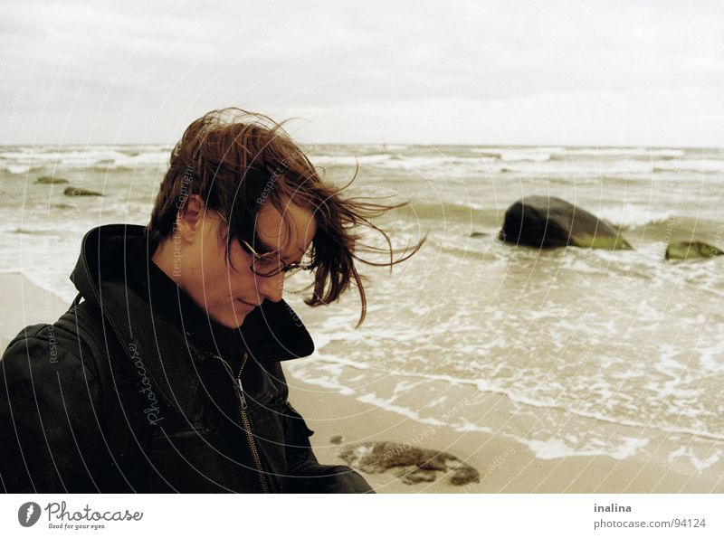 Gust of wind on Rügen Beach Eyeglasses Waves Clouds Coast Wind Water Stone Human being Hair and hairstyles Sand