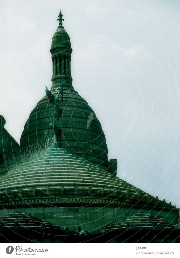 Sky Blue Green Clouds Religion and faith Back Wing Angel Roof Paris Historic Statue France Capital city Domed roof Catholicism