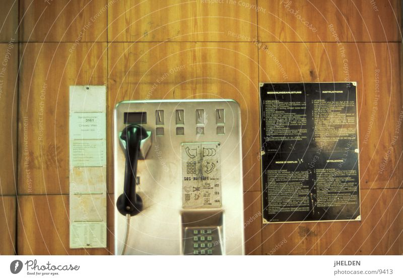 telephone #01 Telephone Payphone Open Wood Wood flour Vienna Austria Brown Old-school Emotion design Telecommunications pay talk call public lotec hitec