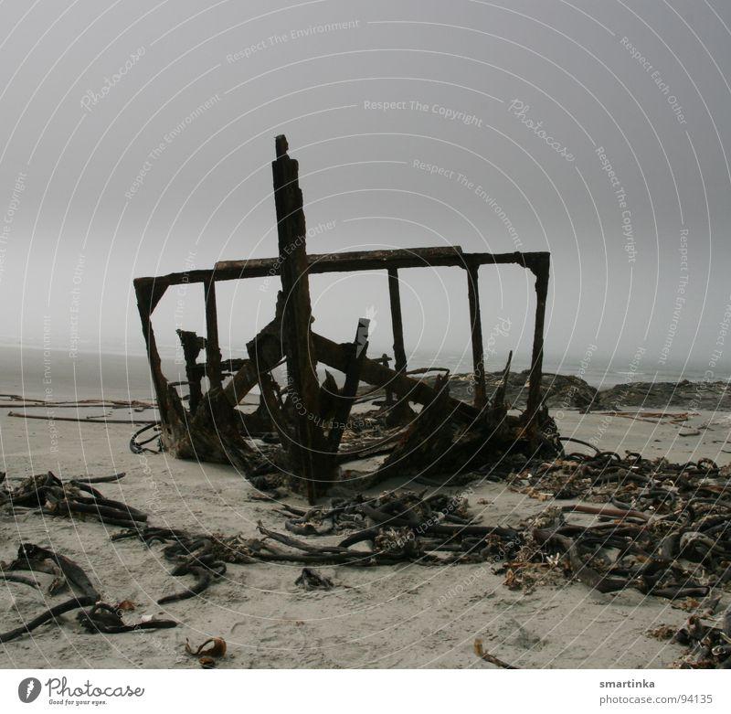Ocean Beach Clouds Dark Death Sadness Watercraft Coast Fog Grief Putrefy Transience Distress Go under Skeleton Bad weather