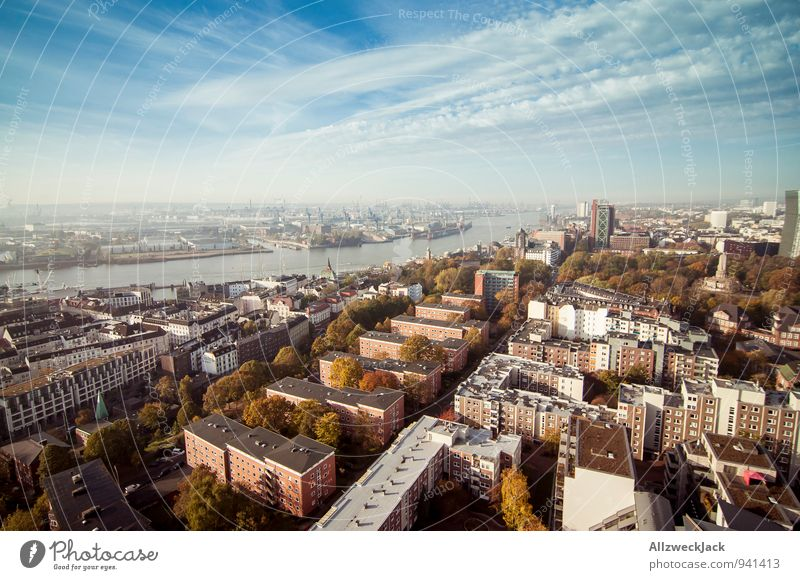 Hamburg in the morning 4 Port City Downtown Town Horizon Perspective Tourism Logistics Alster Colour photo Exterior shot Aerial photograph Deserted Morning