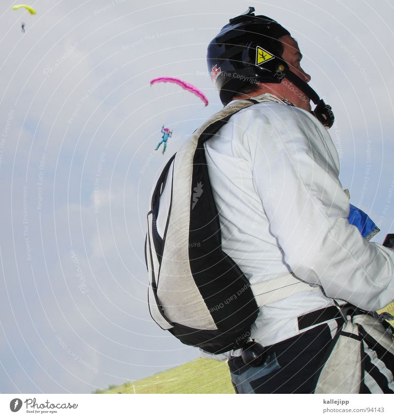 flutter man Skydiver Jump Paragliding Practice Airfield Runway Horizon Glide Formation Meadow Field Formation skydiving Backpack Parachute Hand Man Altimeter