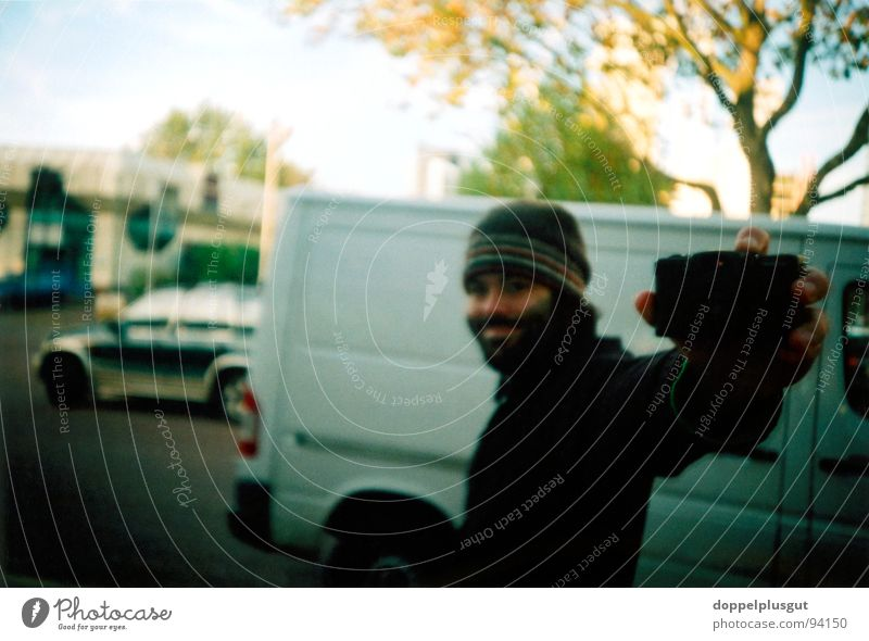 me Portrait photograph Self portrait Mirror Joy Man Facial hair Cap Winter Cold Photographer Photography Lomography Sun Looking Perspective
