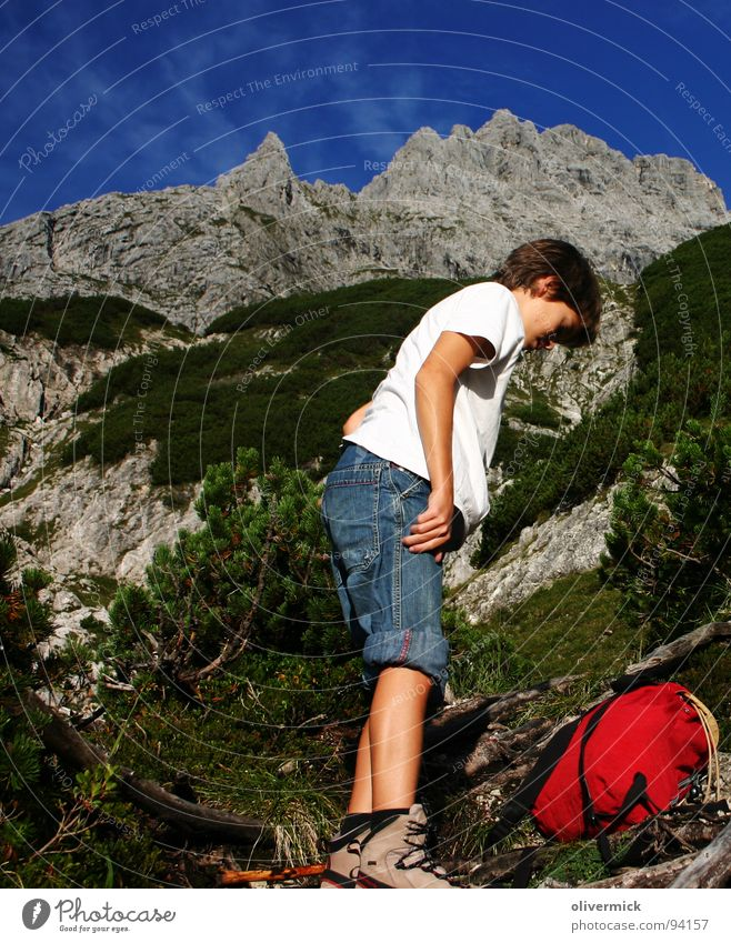 Human being Sky Blue Green Mountain Stone Footwear Hiking Break Mountaineer