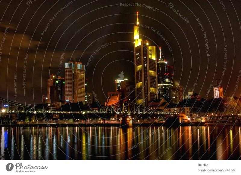 lights of the big city Night High-rise Glittering Dark Long exposure Frankfurt. Main Light Lamp