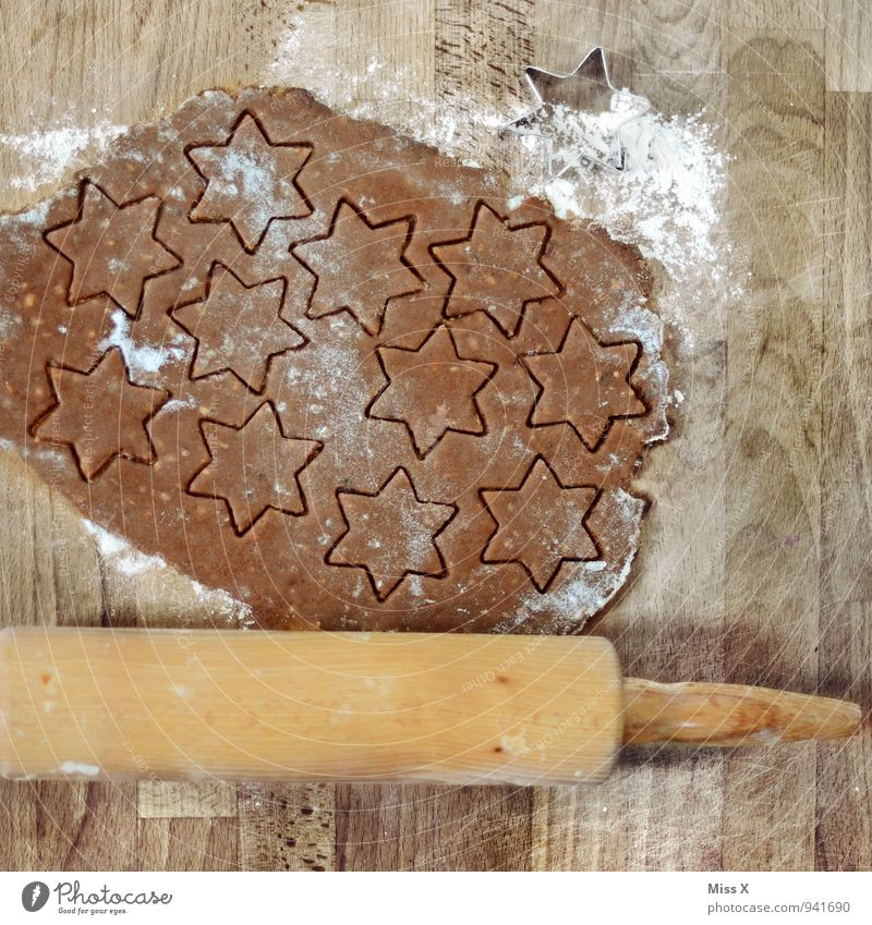 Wood Food Nutrition Cooking & Baking Sweet Star (Symbol) Kitchen Delicious Baked goods Dough Cookie Flour Christmas biscuit Pierce Star cinnamon biscuit Rolling pin