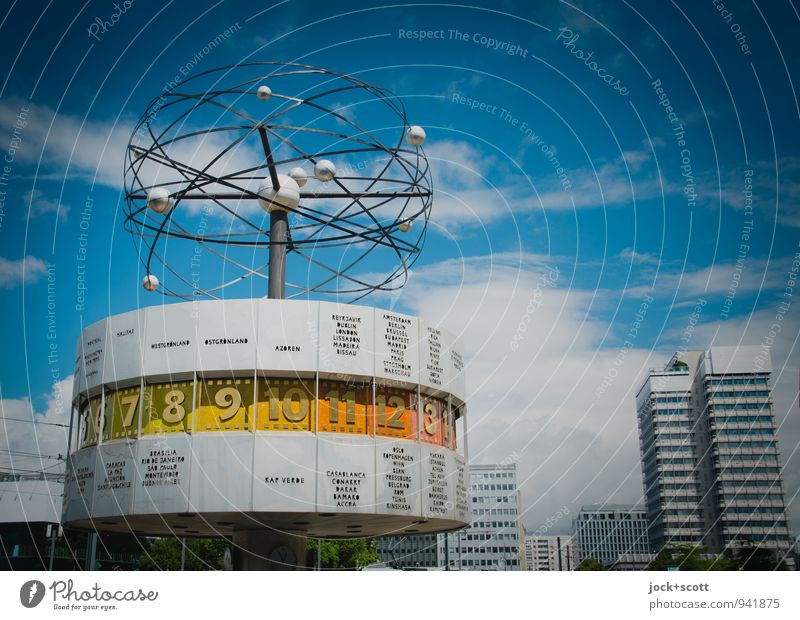Time of the world time clock Design Sightseeing World time clock GDR Sky Clouds Summer Downtown Berlin High-rise Tourist Attraction Alexanderplatz