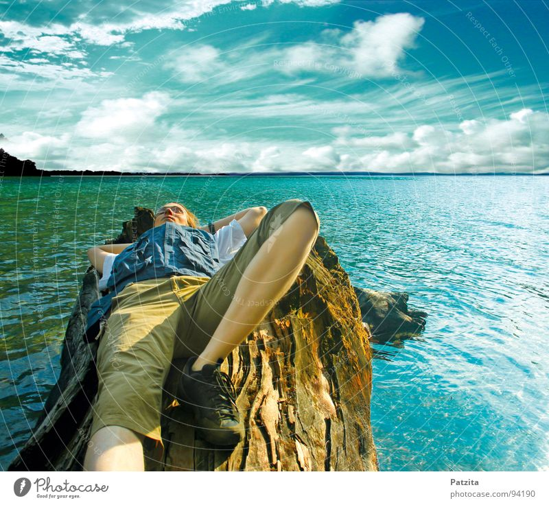 Infinite width Lake Ocean Horizon Clouds Relaxation Man Hiking Air Dream Sleep Tree trunk Wood Lakeside Think Break Calm Time Summer Peace Water Sky Blue floos
