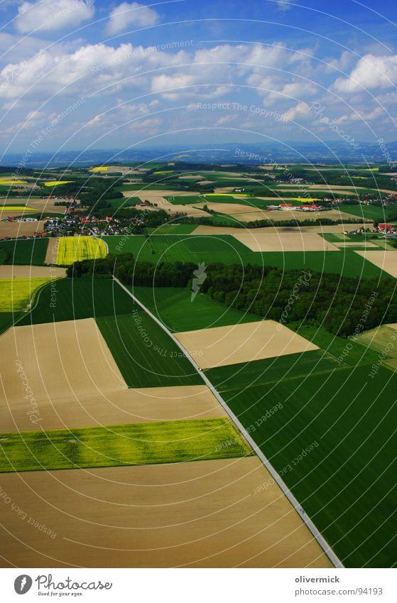 Beautiful Sky Green Blue Clouds Yellow Field Symmetry Canola Canola field